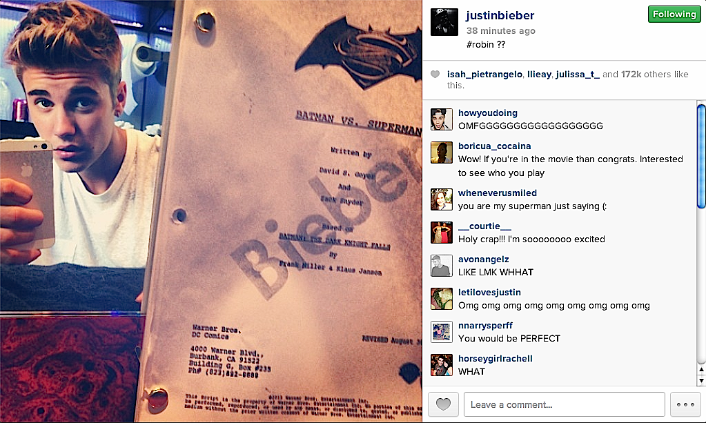 Breaking! Justin Bieber Offered Robin Role In 'Batman vs. Superman' Film!?