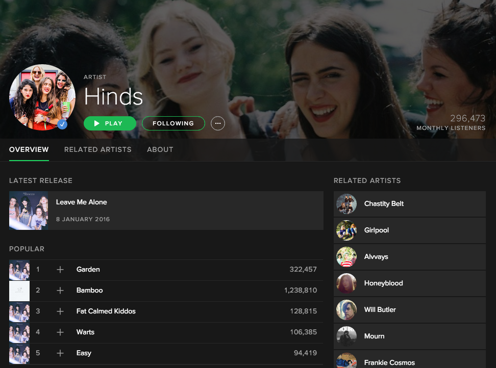 Hinds on Spotify